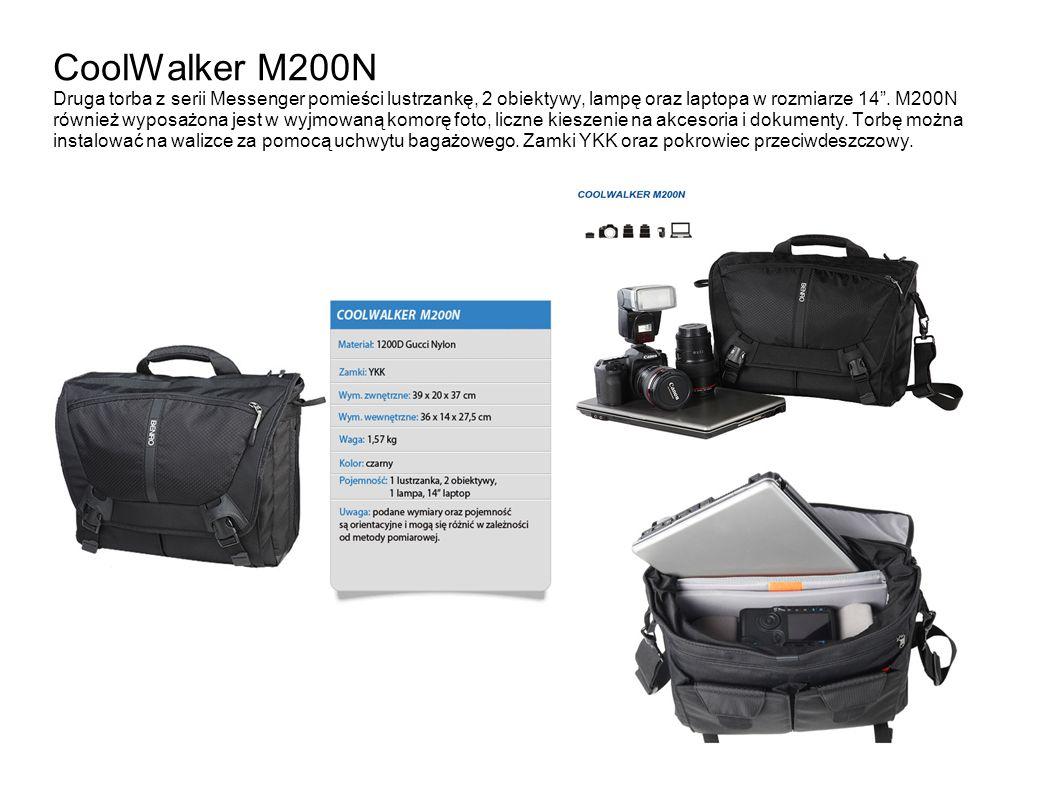 CoolWalker M200N Druga torba z serii Messenger pomieści lustrzankę, 2 obiektywy, lampę oraz laptopa w rozmiarze 14 .