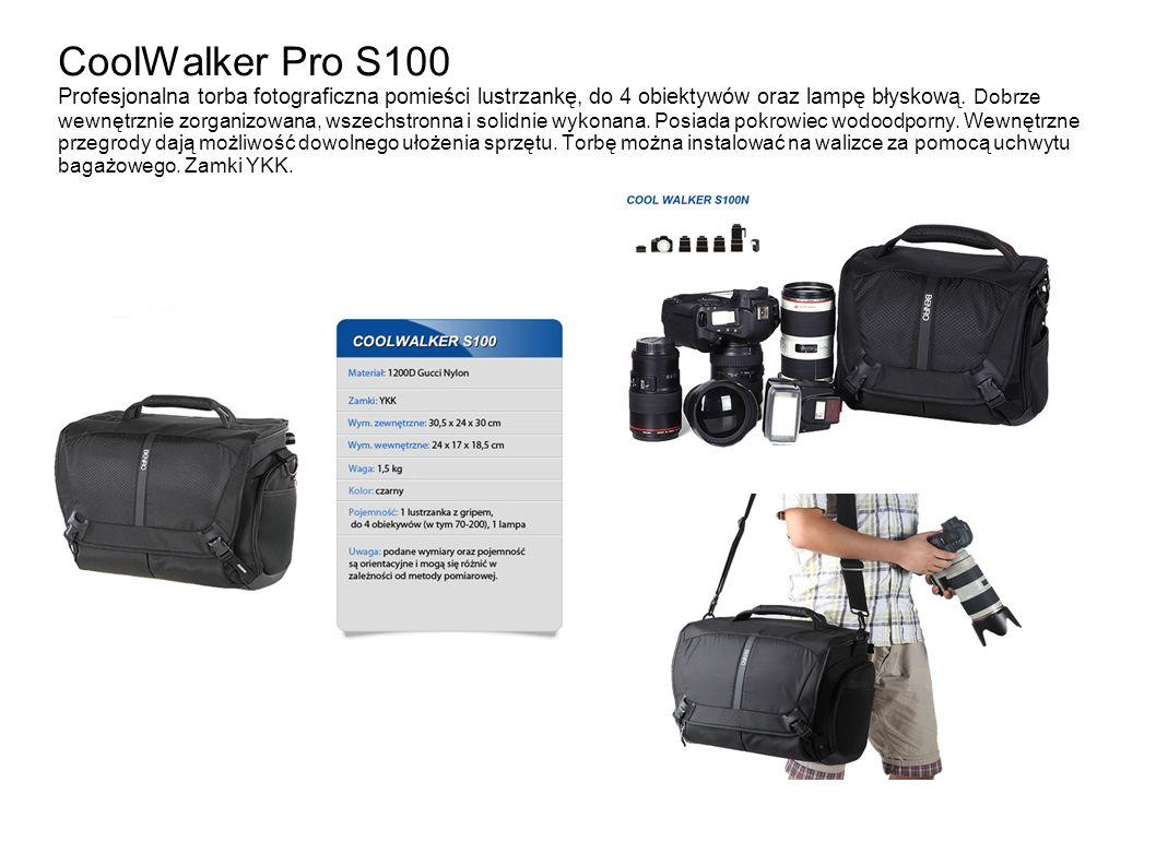 CoolWalker Pro S100 Profesjonalna torba fotograficzna pomieści lustrzankę, do 4 obiektywów oraz lampę błyskową.