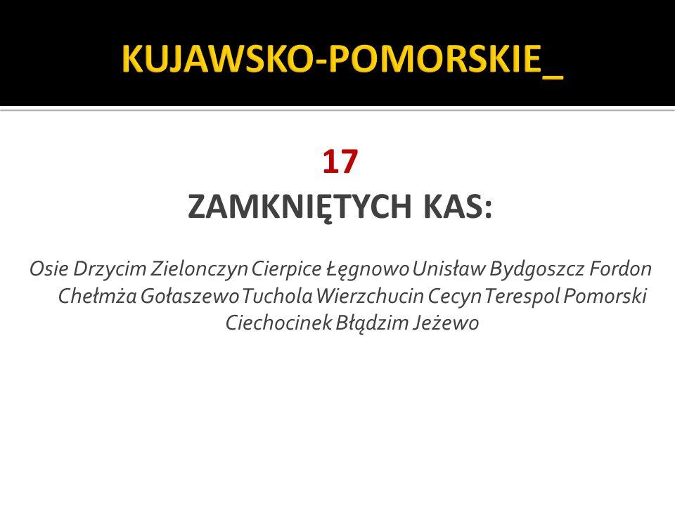 KUJAWSKO-POMORSKIE_ 17 ZAMKNIĘTYCH KAS: