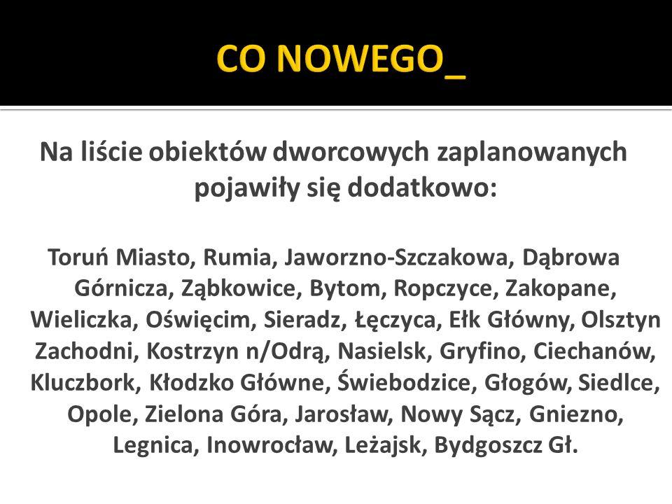 Na liście obiektów dworcowych zaplanowanych pojawiły się dodatkowo: