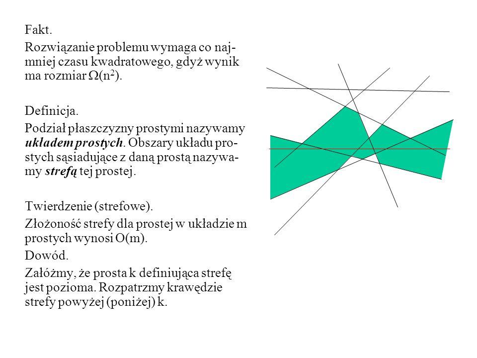 Fakt. Rozwiązanie problemu wymaga co naj-mniej czasu kwadratowego, gdyż wynik ma rozmiar (n2). Definicja.