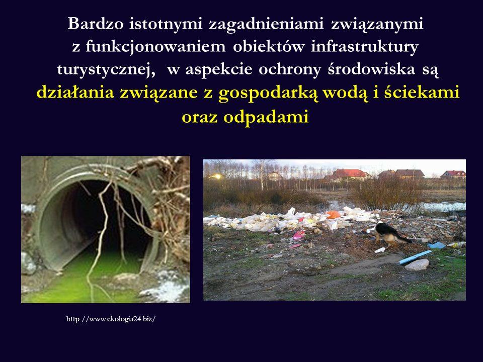 Bardzo istotnymi zagadnieniami związanymi z funkcjonowaniem obiektów infrastruktury turystycznej, w aspekcie ochrony środowiska są działania związane z gospodarką wodą i ściekami oraz odpadami
