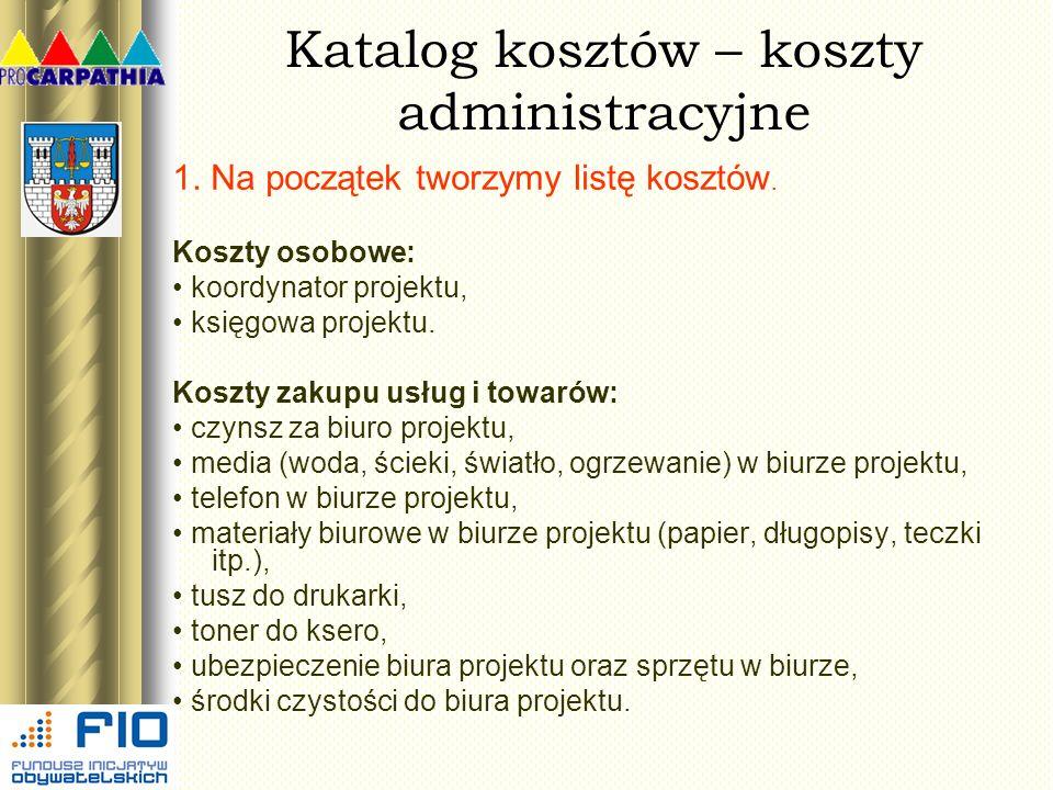 Katalog kosztów – koszty administracyjne