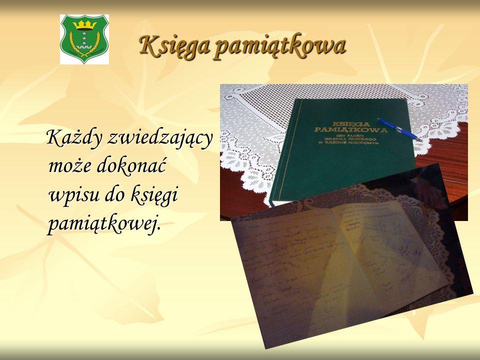 Księga pamiątkowa Każdy zwiedzający może dokonać wpisu do księgi pamiątkowej.