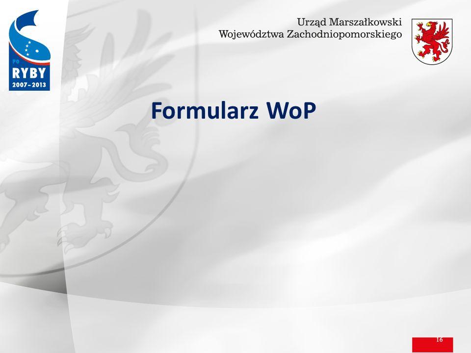 Formularz WoP