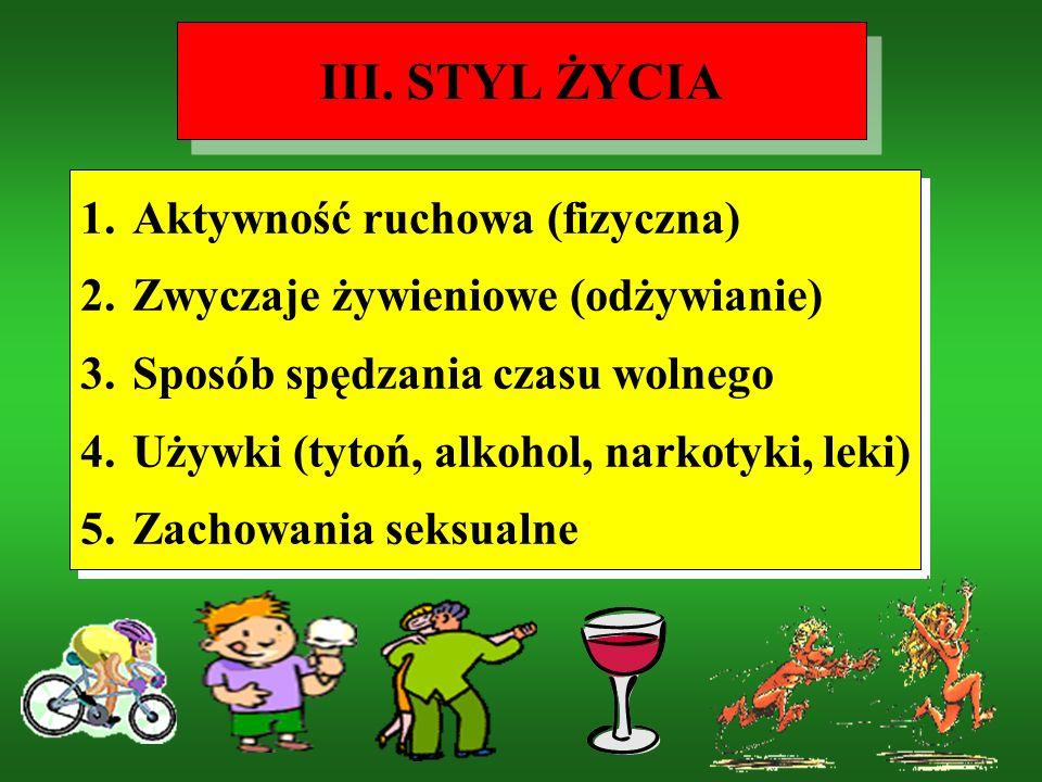 III. STYL ŻYCIA Aktywność ruchowa (fizyczna)