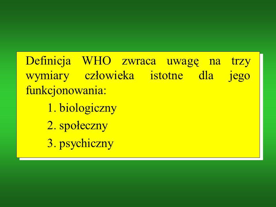 Definicja WHO zwraca uwagę na trzy wymiary człowieka istotne dla jego funkcjonowania: