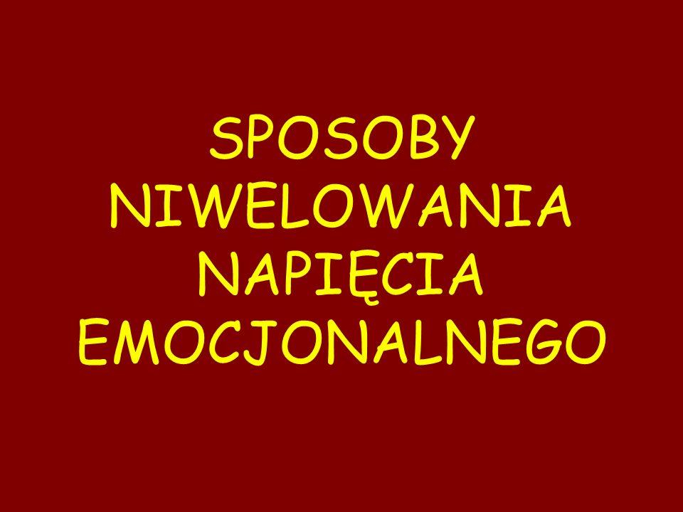SPOSOBY NIWELOWANIA NAPIĘCIA EMOCJONALNEGO