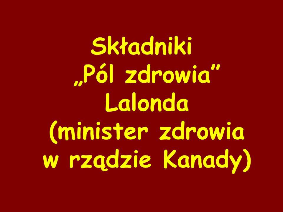 """Składniki """"Pól zdrowia Lalonda (minister zdrowia w rządzie Kanady)"""