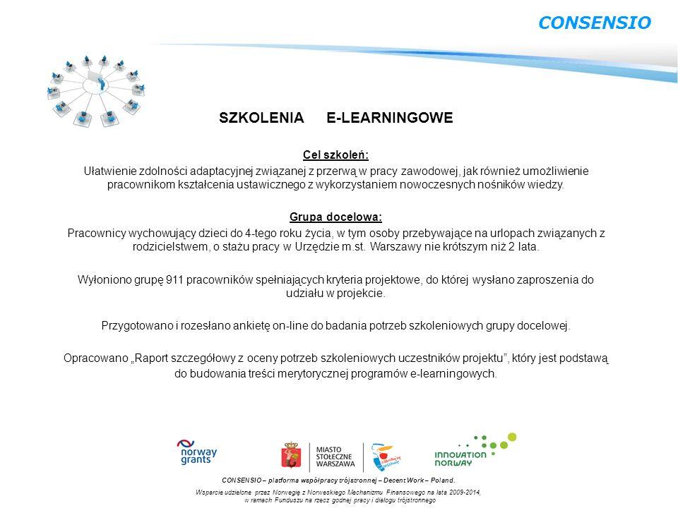 CONSENSIO SZKOLENIA E-LEARNINGOWE Cel szkoleń: