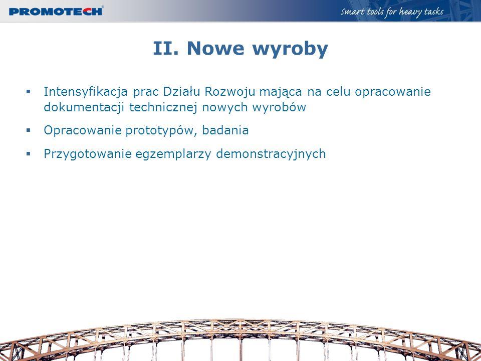 II. Nowe wyroby Intensyfikacja prac Działu Rozwoju mająca na celu opracowanie dokumentacji technicznej nowych wyrobów.