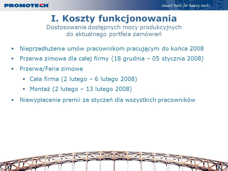 I. Koszty funkcjonowania Dostosowanie dostępnych mocy produkcyjnych do aktualnego portfela zamówień