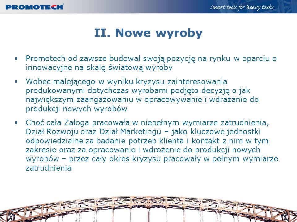 II. Nowe wyroby Promotech od zawsze budował swoją pozycję na rynku w oparciu o innowacyjne na skalę światową wyroby.