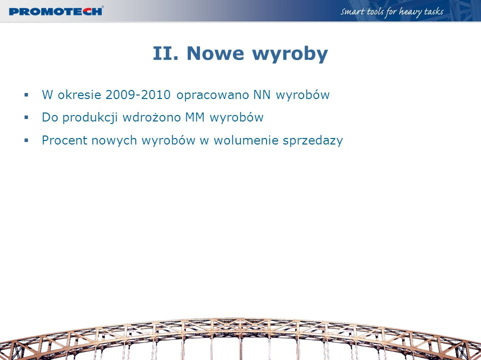 II. Nowe wyroby W okresie 2009-2010 opracowano NN wyrobów