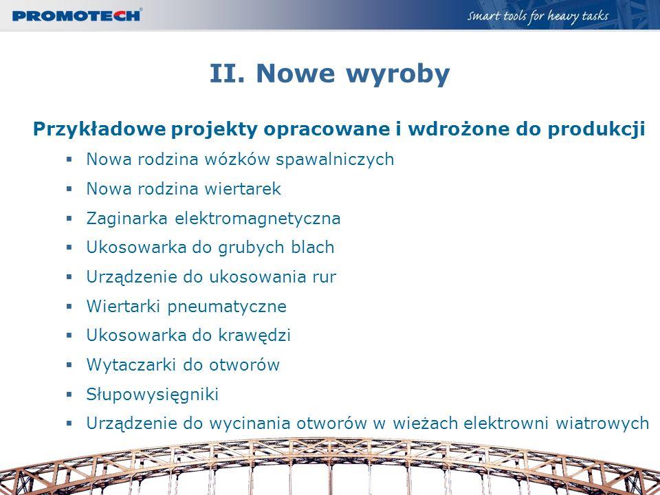 II. Nowe wyroby Przykładowe projekty opracowane i wdrożone do produkcji. Nowa rodzina wózków spawalniczych.