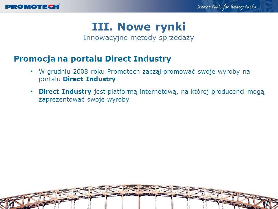 III. Nowe rynki Innowacyjne metody sprzedaży