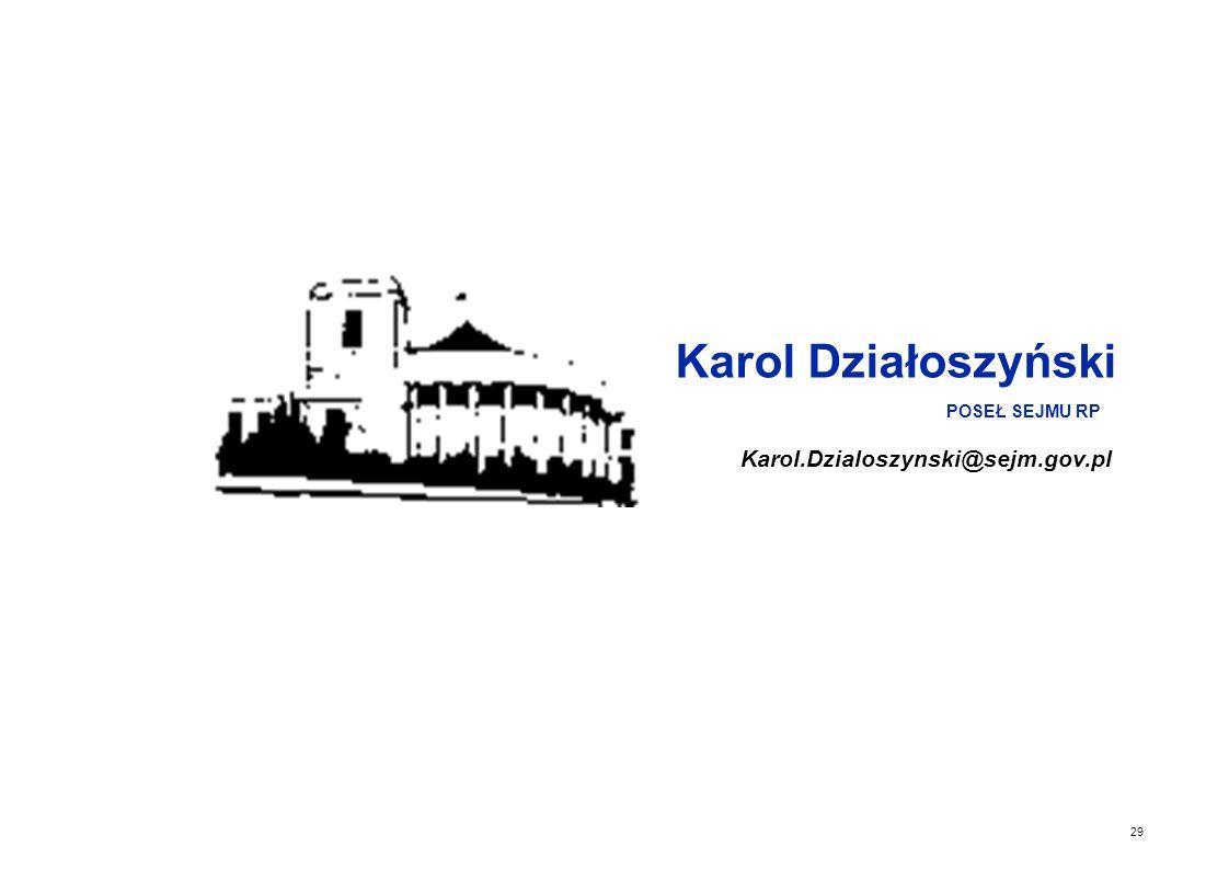 Karol Działoszyński Karol.Dzialoszynski@sejm.gov.pl