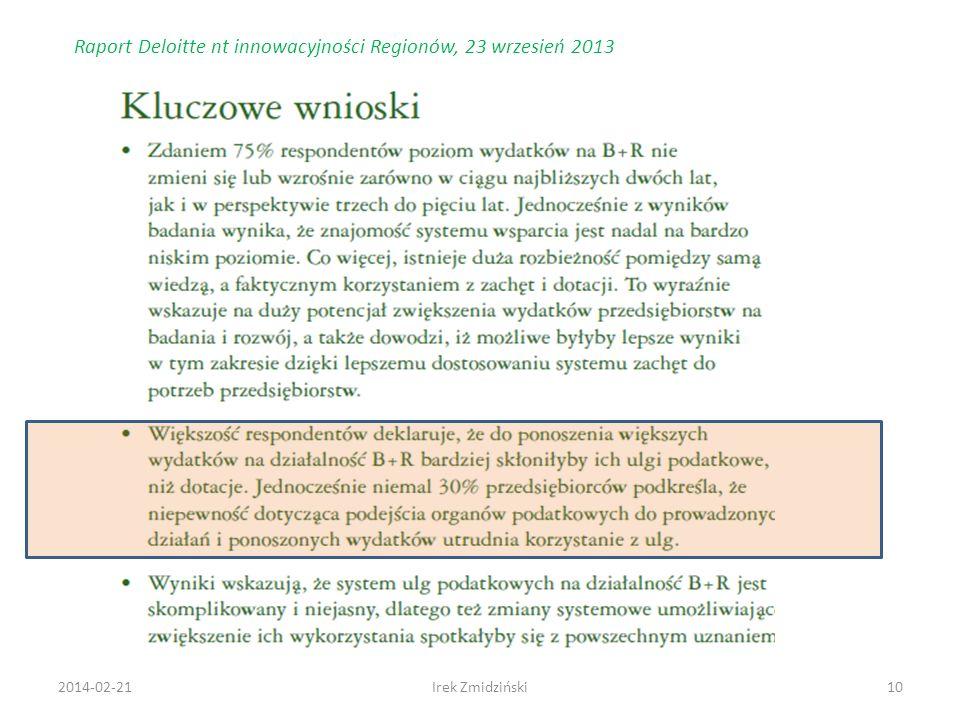 Raport Deloitte nt innowacyjności Regionów, 23 wrzesień 2013