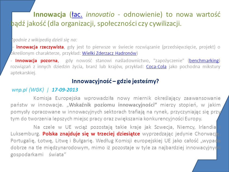 Innowacyjność – gdzie jesteśmy