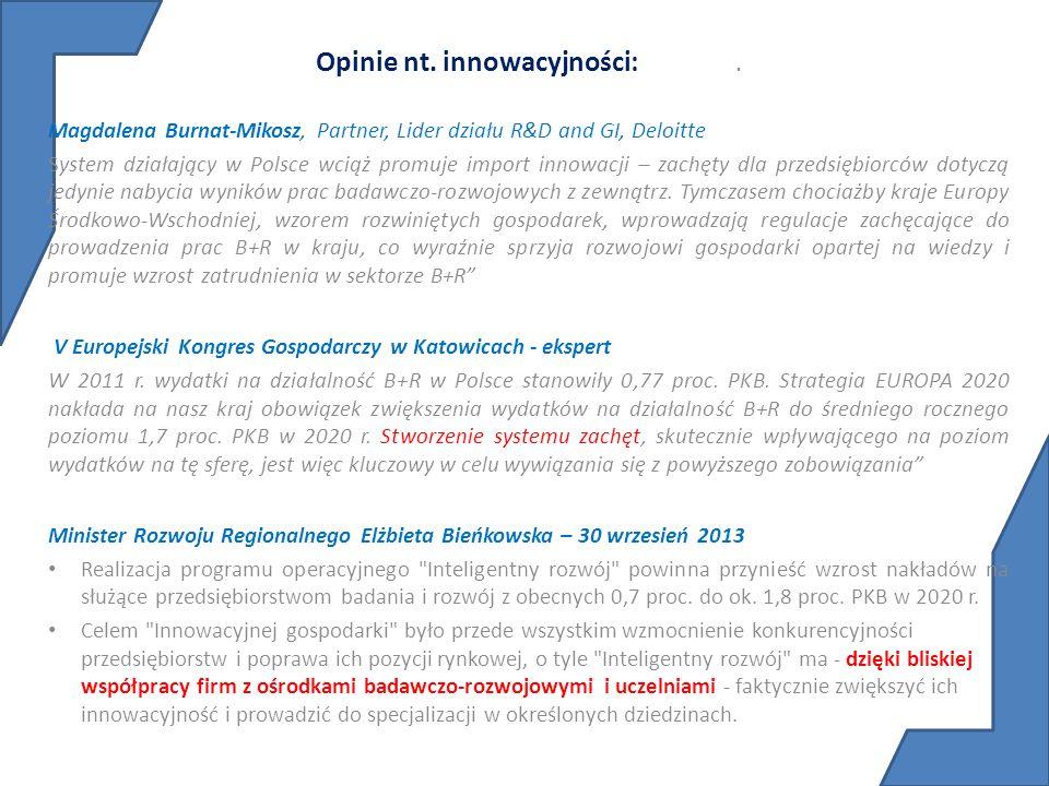 Opinie nt. innowacyjności: .