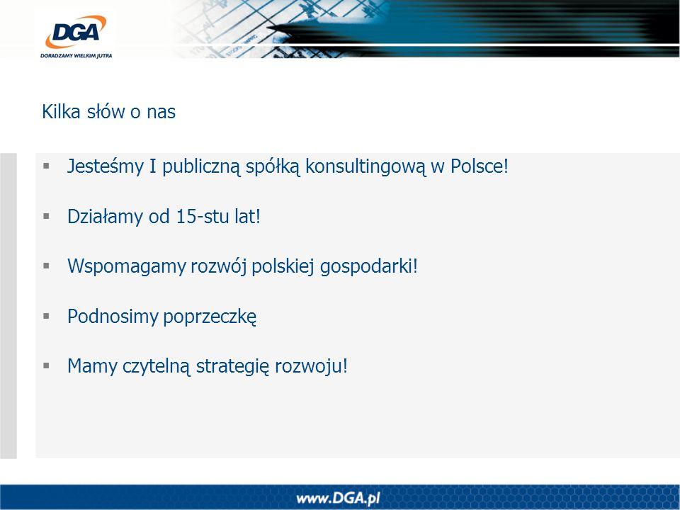 Kilka słów o nas Jesteśmy I publiczną spółką konsultingową w Polsce! Działamy od 15-stu lat! Wspomagamy rozwój polskiej gospodarki!