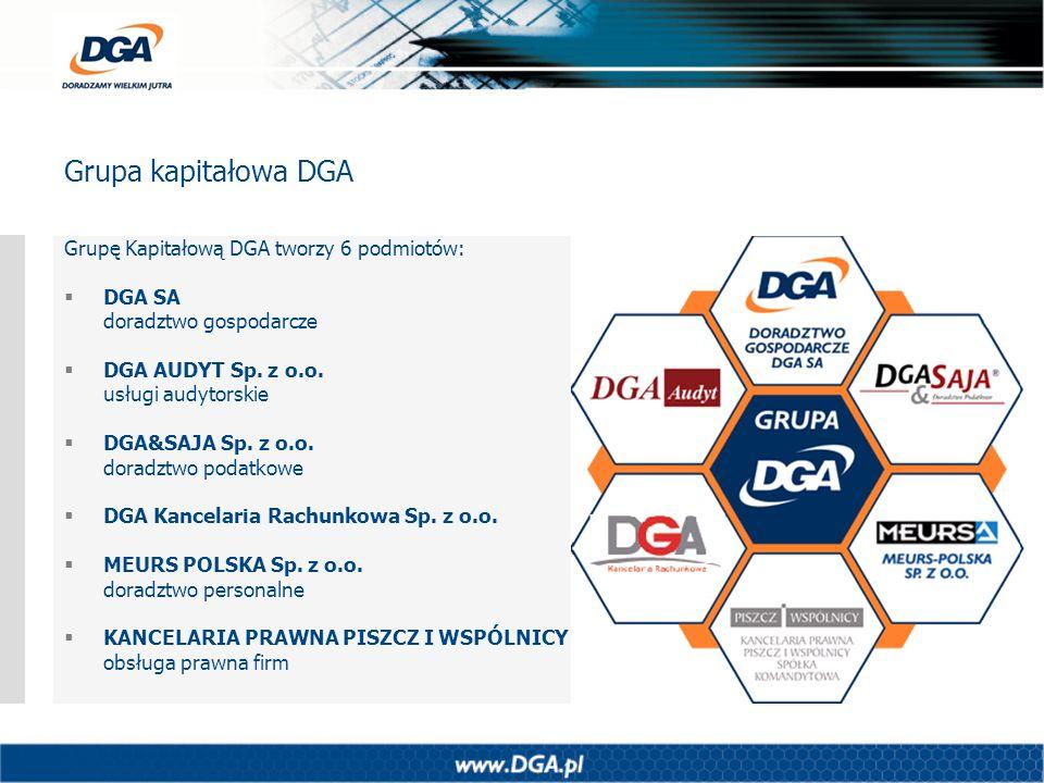 Grupa kapitałowa DGA Grupę Kapitałową DGA tworzy 6 podmiotów: DGA SA