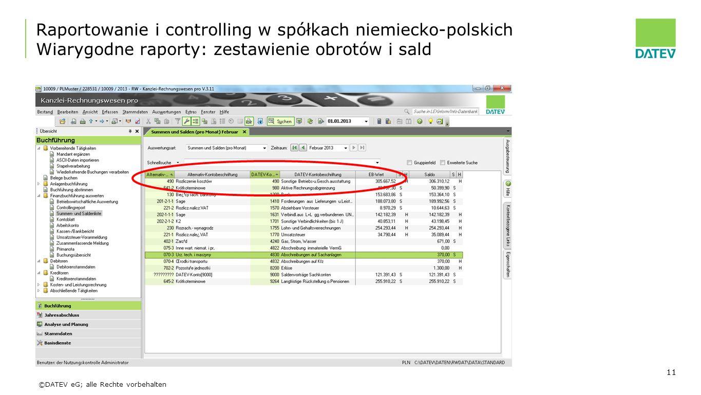 Raportowanie i controlling w spółkach niemiecko-polskich Wiarygodne raporty: zestawienie obrotów i sald