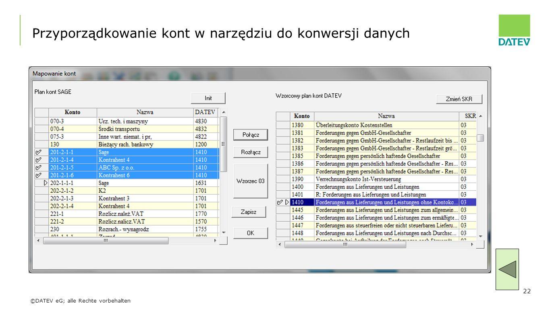 Przyporządkowanie kont w narzędziu do konwersji danych