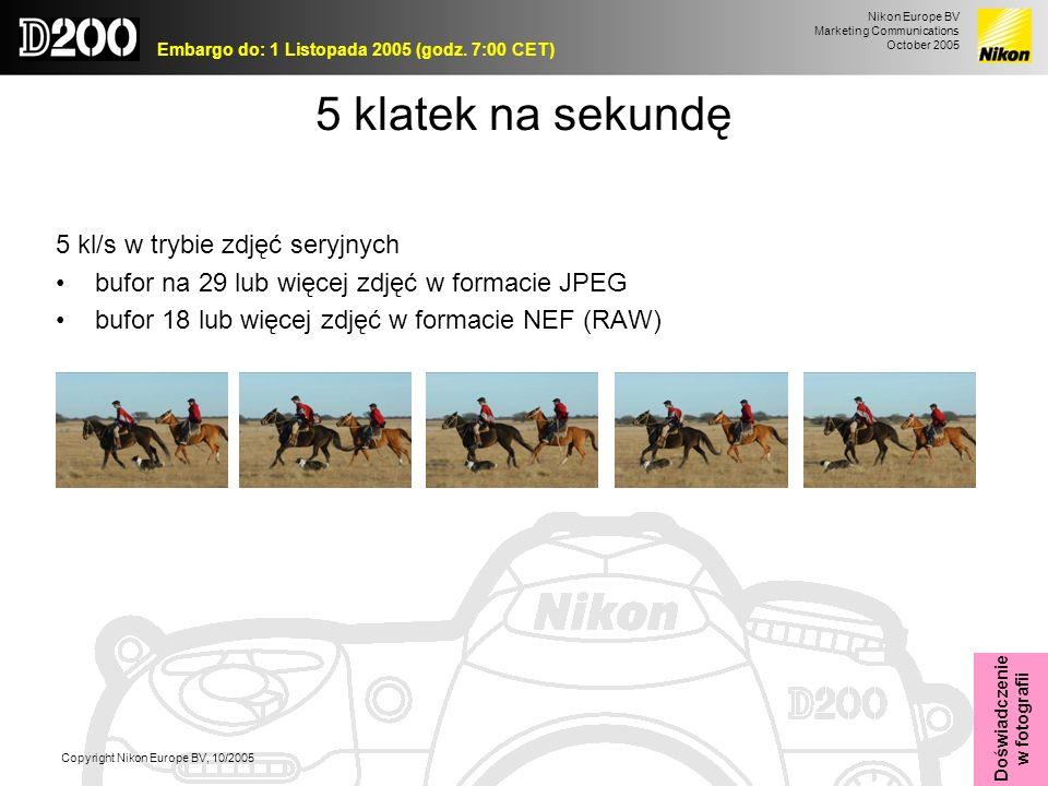 5 klatek na sekundę 5 kl/s w trybie zdjęć seryjnych