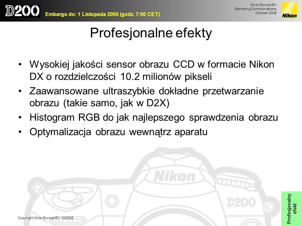Profesjonalne efekty Wysokiej jakości sensor obrazu CCD w formacie Nikon DX o rozdzielczości 10.2 milionów pikseli.