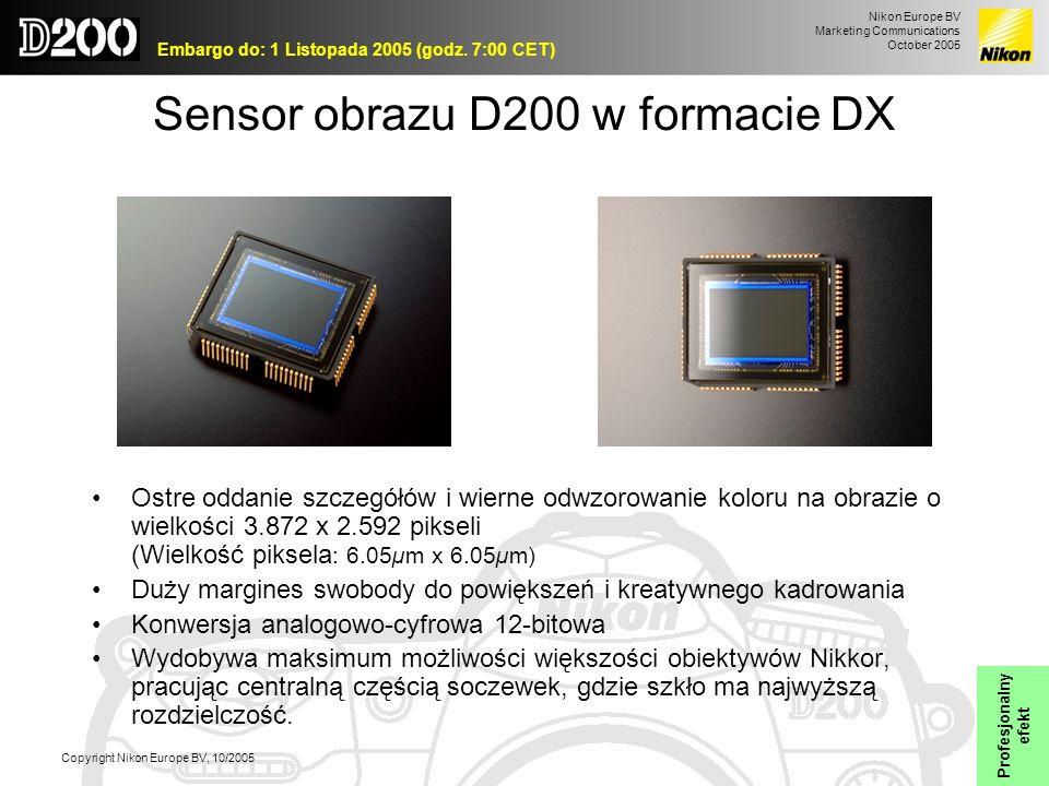 Sensor obrazu D200 w formacie DX