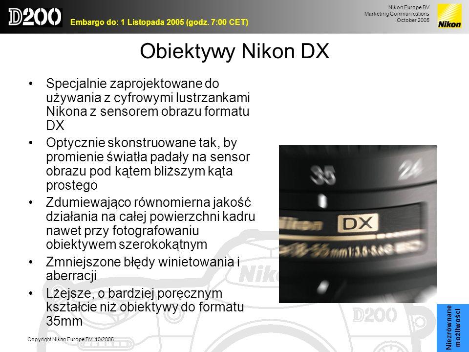 Obiektywy Nikon DXSpecjalnie zaprojektowane do używania z cyfrowymi lustrzankami Nikona z sensorem obrazu formatu DX.
