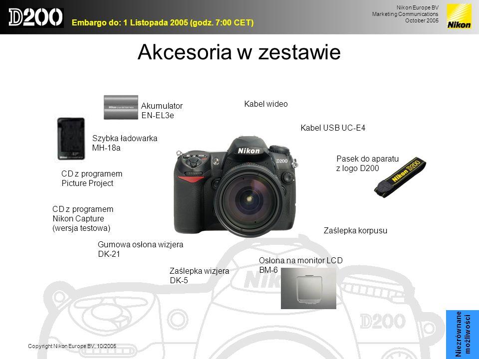 Akcesoria w zestawie Kabel wideo Akumulator EN-EL3e Kabel USB UC-E4