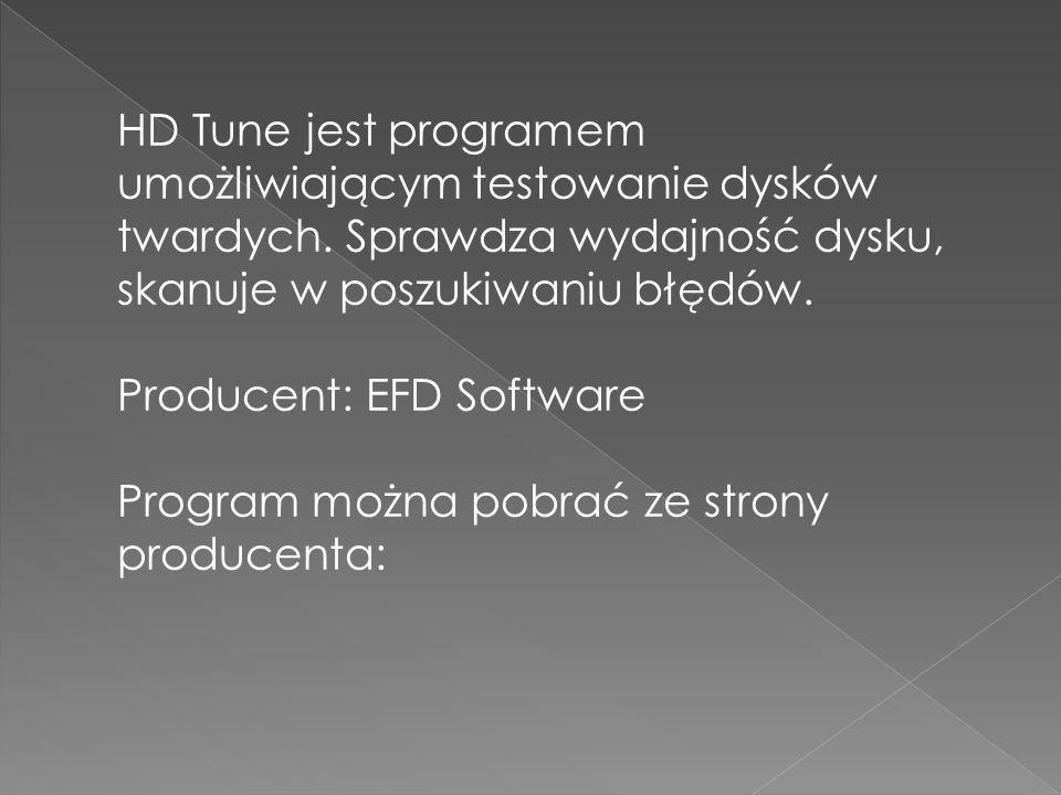 HD Tune jest programem umożliwiającym testowanie dysków twardych