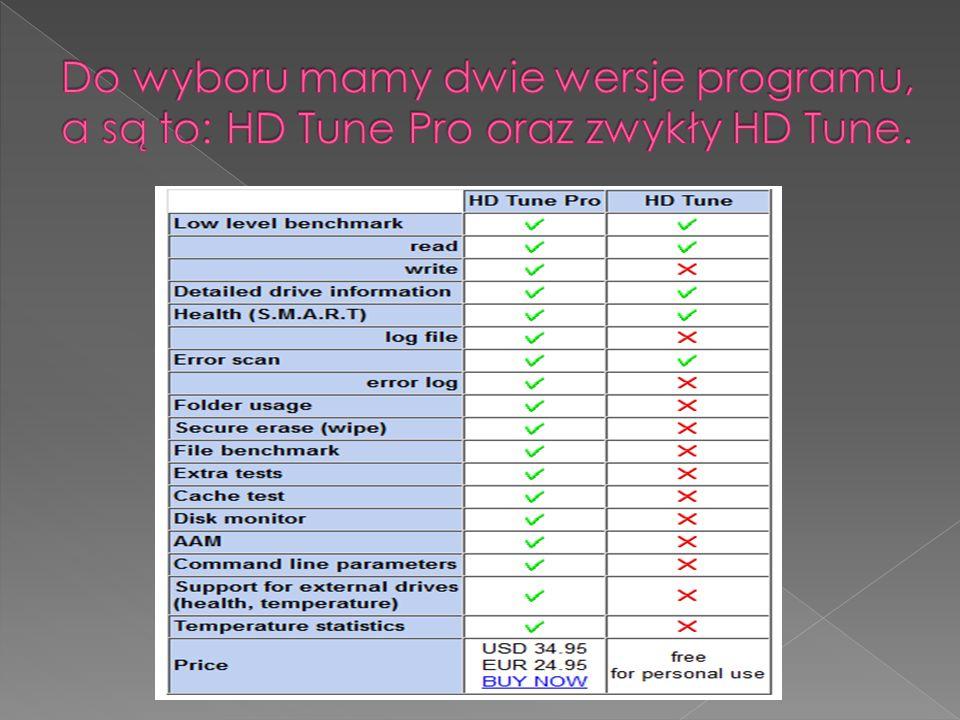 Do wyboru mamy dwie wersje programu, a są to: HD Tune Pro oraz zwykły HD Tune.