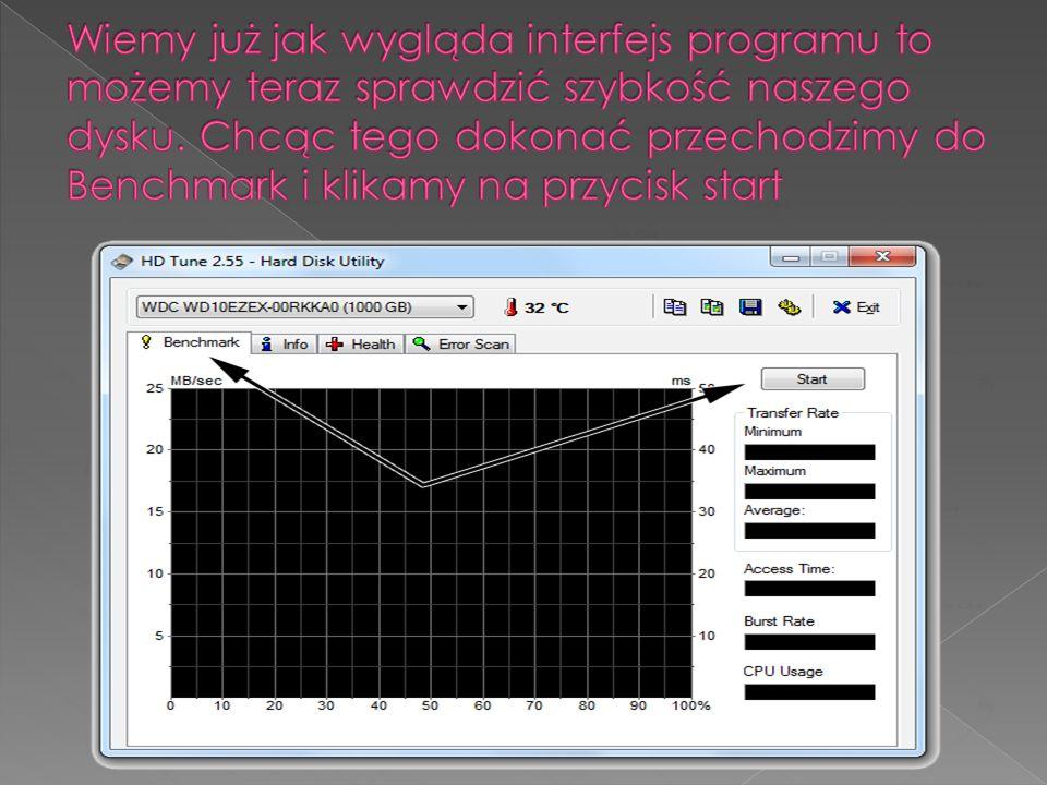 Wiemy już jak wygląda interfejs programu to możemy teraz sprawdzić szybkość naszego dysku.