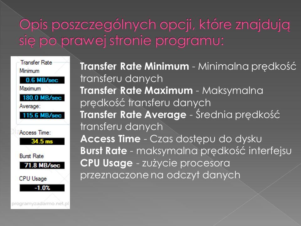 Opis poszczególnych opcji, które znajdują się po prawej stronie programu: