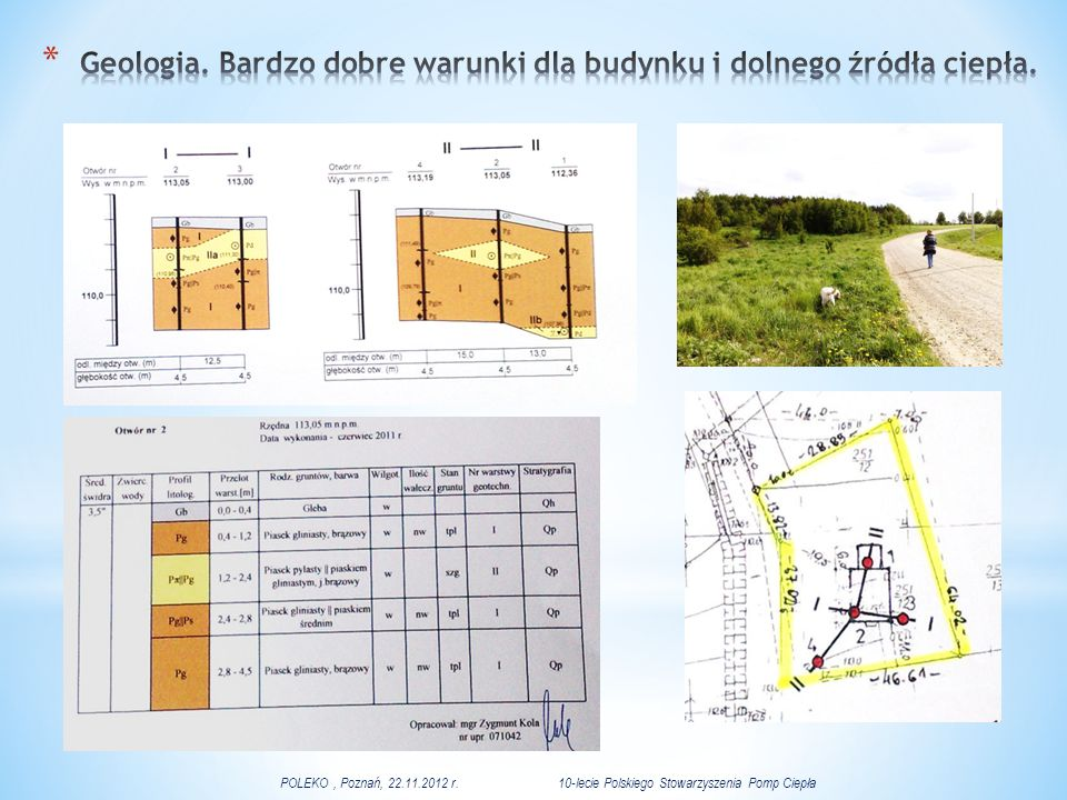Geologia. Bardzo dobre warunki dla budynku i dolnego źródła ciepła.