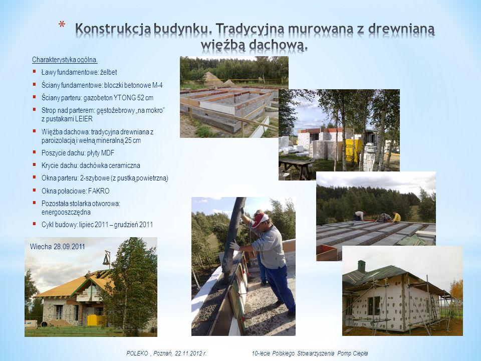 Konstrukcja budynku. Tradycyjna murowana z drewnianą więźbą dachową.