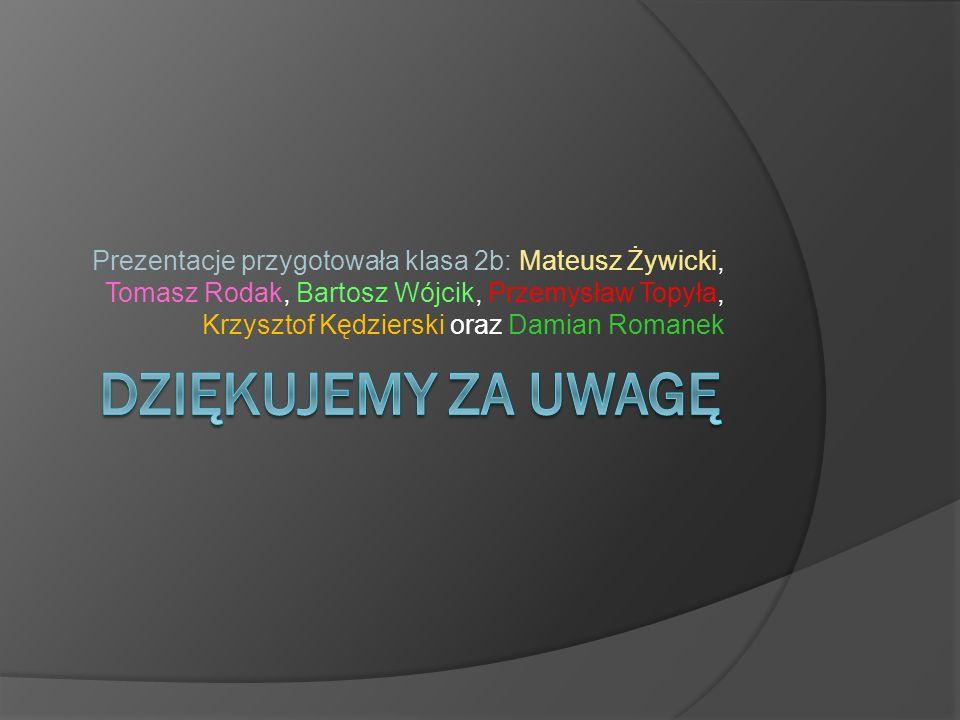 Prezentacje przygotowała klasa 2b: Mateusz Żywicki, Tomasz Rodak, Bartosz Wójcik, Przemysław Topyła, Krzysztof Kędzierski oraz Damian Romanek