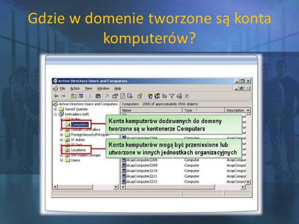 Gdzie w domenie tworzone są konta komputerów