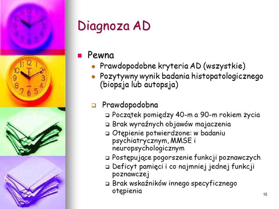 Diagnoza AD Pewna Prawdopodobne kryteria AD (wszystkie)