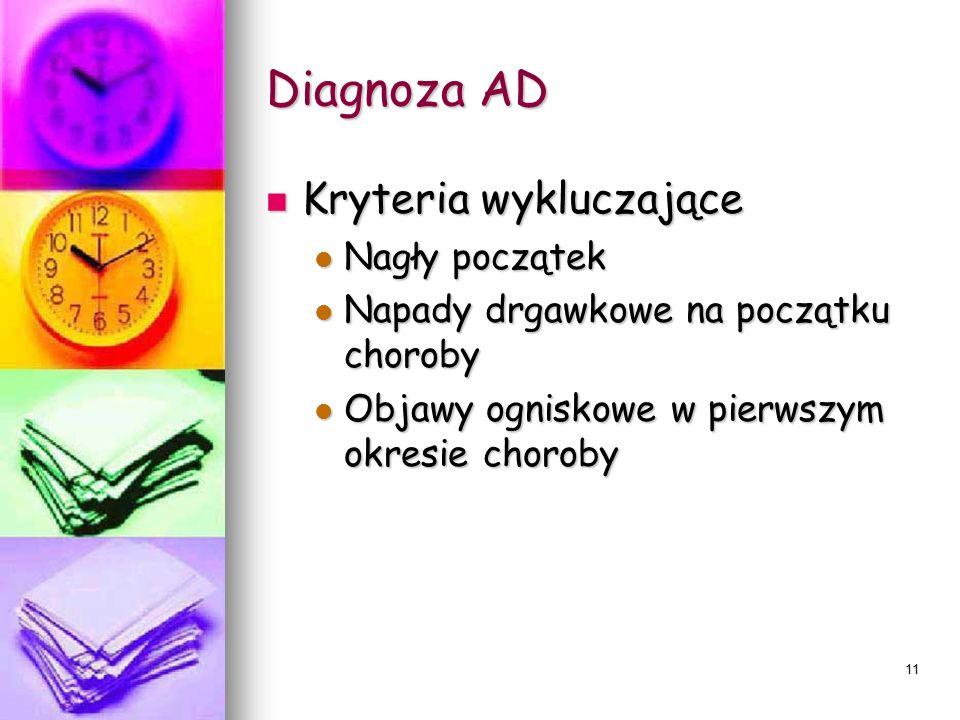 Diagnoza AD Kryteria wykluczające Nagły początek