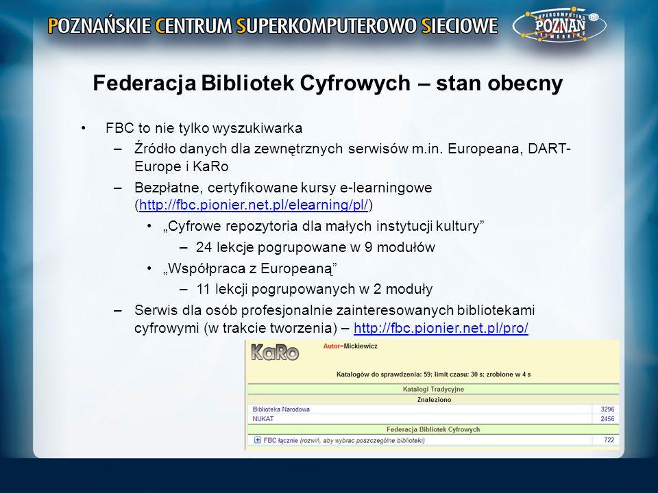 Federacja Bibliotek Cyfrowych – stan obecny