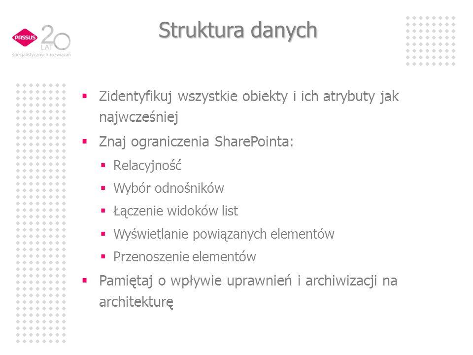 Struktura danych Zidentyfikuj wszystkie obiekty i ich atrybuty jak najwcześniej. Znaj ograniczenia SharePointa: