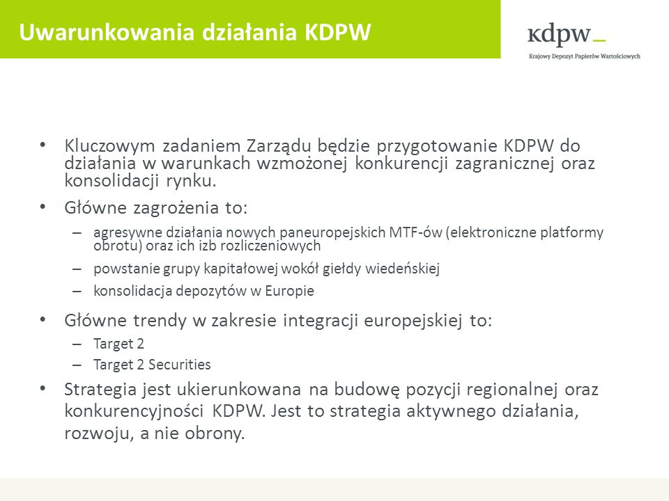 Uwarunkowania działania KDPW