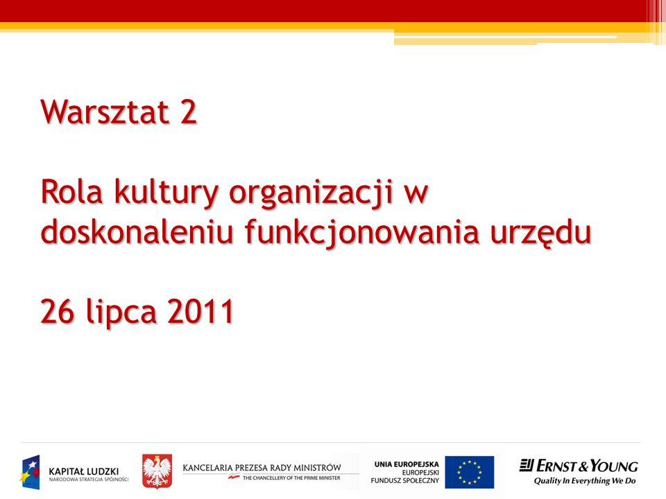 Warsztat 2 Rola kultury organizacji w doskonaleniu funkcjonowania urzędu 26 lipca 2011