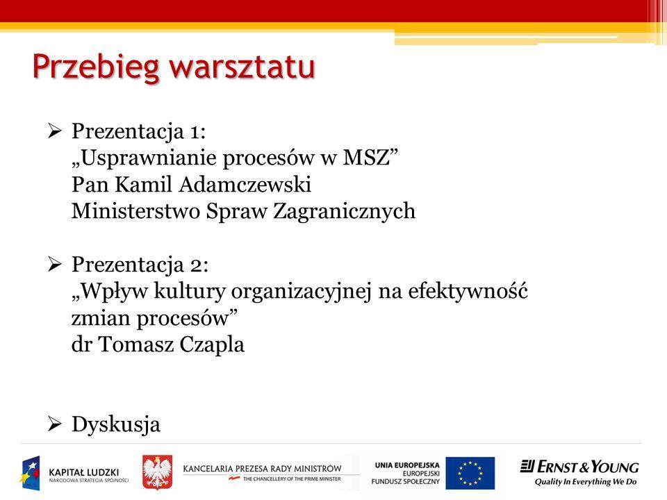 """Przebieg warsztatu Prezentacja 1: """"Usprawnianie procesów w MSZ Pan Kamil Adamczewski Ministerstwo Spraw Zagranicznych."""