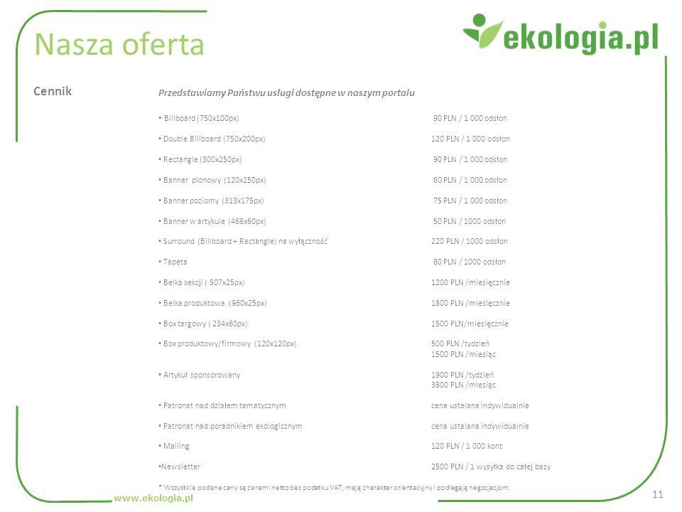 Nasza oferta Cennik. Przedstawiamy Państwu usługi dostępne w naszym portalu. Billboard (750x100px) 90 PLN / 1 000 odsłon.