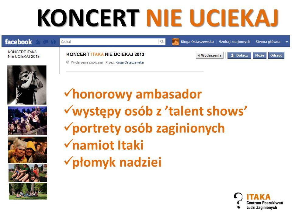 KONCERT NIE UCIEKAJ honorowy ambasador występy osób z 'talent shows'